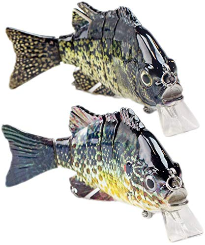 Sunrise Angler 4 Inch Bluegill Swimbait | 2 Pack | Sinking Hard Lure, Crankbait, Topwater Swimbait, Wakebait, Glidebait for Freshwater Fishing with 3D Eyes, Lifelike Skin and ()