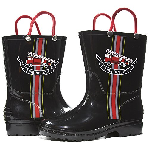 Zac & Evan Toddler Boys Printed High Cut Puddle Proof Rain Boots Fire Truck Black Size 5/6