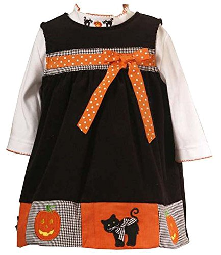 (Rare Editions Toddler Girls 2T-4T 2-Piece BLACK ORANGE COLOR BLOCK PUMPKIN BLACK CAT Halloween-Theme Jumper Dress Set - 2T)