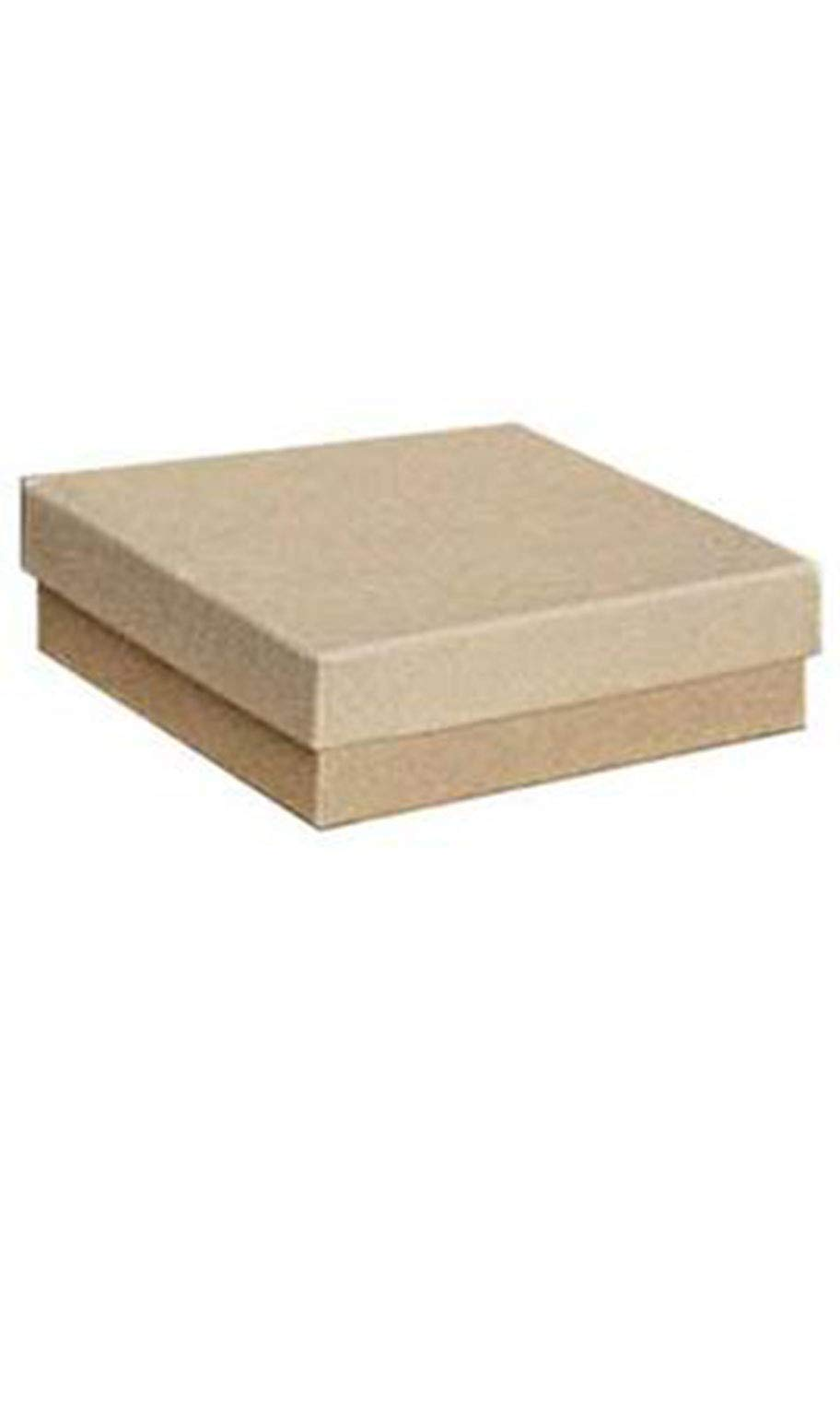 Cotton Filled Kraft Jewelry Boxes - 3½'' x 3½'' x 1'' - Case of 100