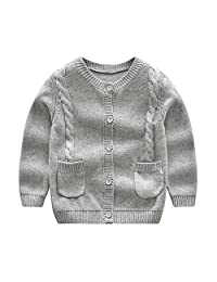 Tortor 1Bacha Little Boys' Girls' Crewneck Braided Cardigan Sweater