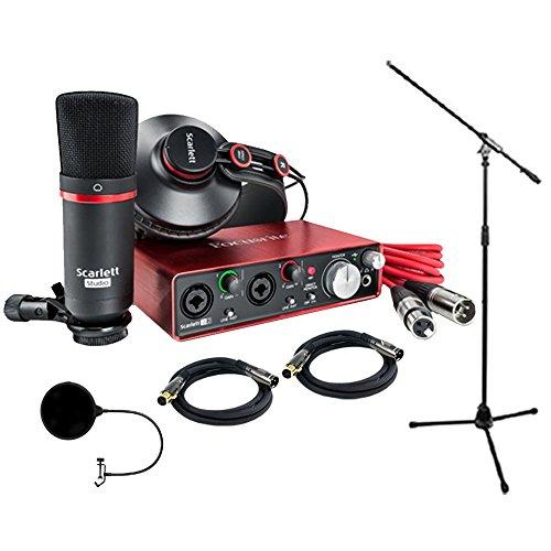 Focusrite Scarlett 2i2 Studio Pack & Recording Bundle - 2nd Gen w/ Pro Tools, Includes,Universal Pop Filter Microphone Wind Screen,10 Premier Series XLR Male-XLR Female 16AWG Cable&Microphone (Pro Tools Vocal Studio)