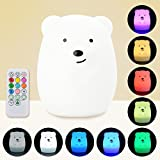 gummy bear lamp - Baby LED Night Light, Remote Control + Sensor Tap Control, 4 Modes and 9 Colors, USB Rechargeable, Eco-friendly Silicone Nursery Lamp for Kids Children (Rabbit/Bear)