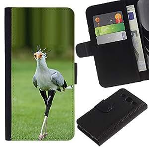 LASTONE PHONE CASE / Lujo Billetera de Cuero Caso del tirón Titular de la tarjeta Flip Carcasa Funda para Samsung Galaxy S3 III I9300 / bird green spring roadrunner nature