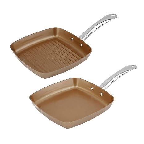 2 unids Cobre Revestimiento Inferior Sartenes Antiadherente Cuadrado Parrilla Pan Conjunto de Utensilios de Cocina Multifuncional