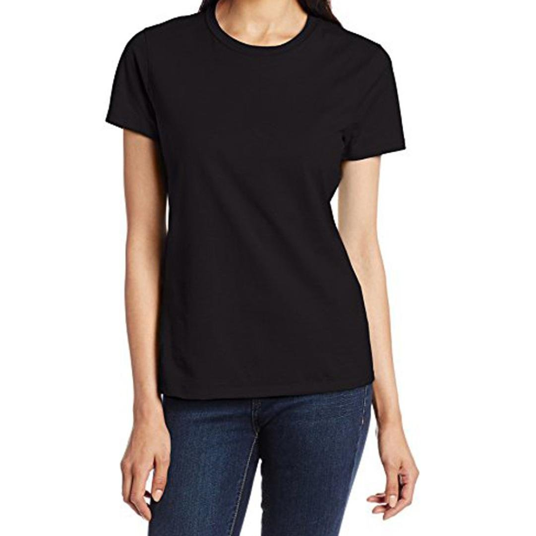 Paymenow Summer Tops For Women, Girls Basic Solid Round Neck T Shirts Casual Classic Short Sleeve Tee Blouse (Black, XXL)