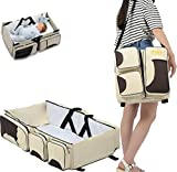 2 in 1 Multi-function Portable Folding Baby Travel Bed Crib Diaper Bag by Warmword (Beige)