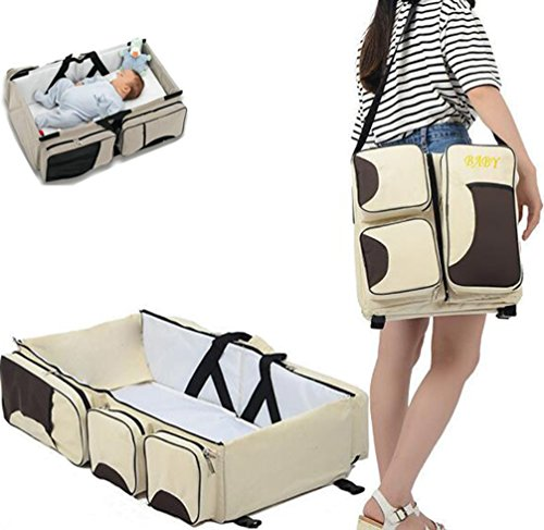 2 in 1 Multi-function Portable Folding Baby Travel Bed Crib Diaper Bag by Warmword (Beige) by Warmword