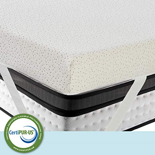 LuxyFluff 3-Inch Gel-Infused Memory Foam Mattress Topper with Added Ventilated Removable Washable Bamboo Cooling Cover and Corner Straps - Queen