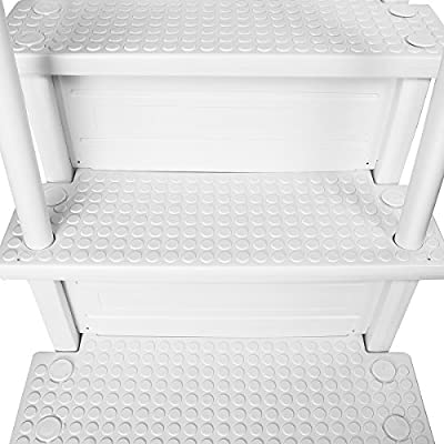 XtremepouwerUS Premium 4-Step Above Ground Swimming Pool Ladder Step to Deck Step Ladder w/Handle Slip Prevent, White