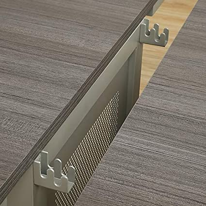 at Work Expandable Conference Table 20 Gray Laminate Top//Brushed Nickel Painted Steel Leg with Modesty Panel