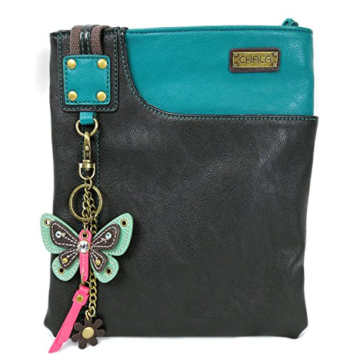 Chala Crossbody Phone Purse | SOFT PU Leather SWING Bag with Detachable Mini Key fob- 609 (Turquoise- Teal Butterfly) by CHALA