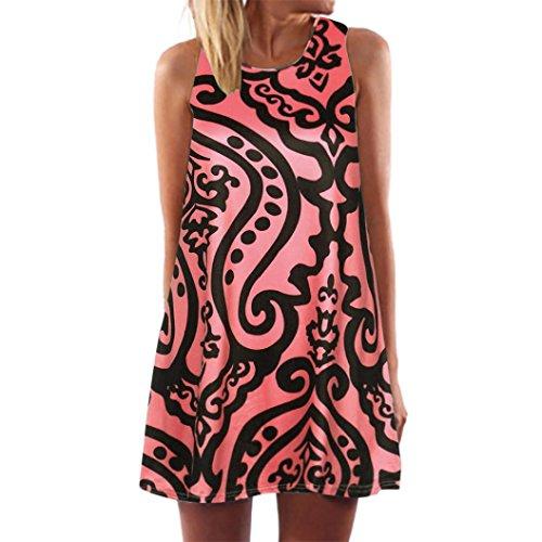 (TOPUNDER Boho Swing Dress for Women Summer Sleeveless Knee Length Mini Dresses Trendy)