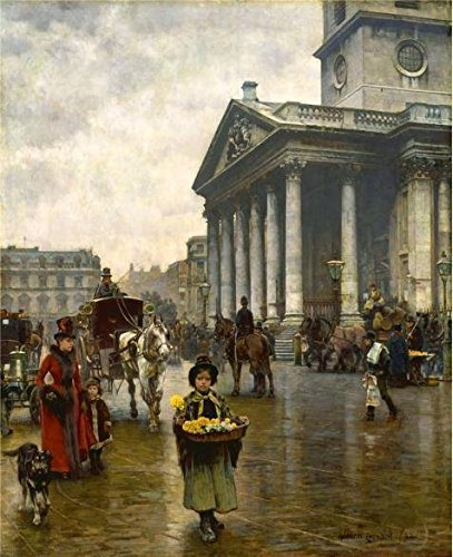 'William Logsdail - St Martin-in-the-Fields,1888' Oil Painting, 30x37 Inch / 76x94 Cm ,printed On High Quality Polyster Canvas ,this Replica Art DecorativeCanvas Prints Is Perfectly Suitalbe For Living Room Gallery Art And Home Decor And Gifts