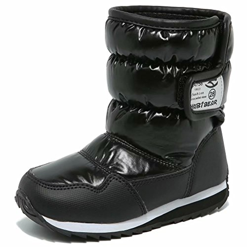 S-BAO Boys Girls Winter Snow Boots Waterproof Warm Faux Fur Lined Outdoor Shoes