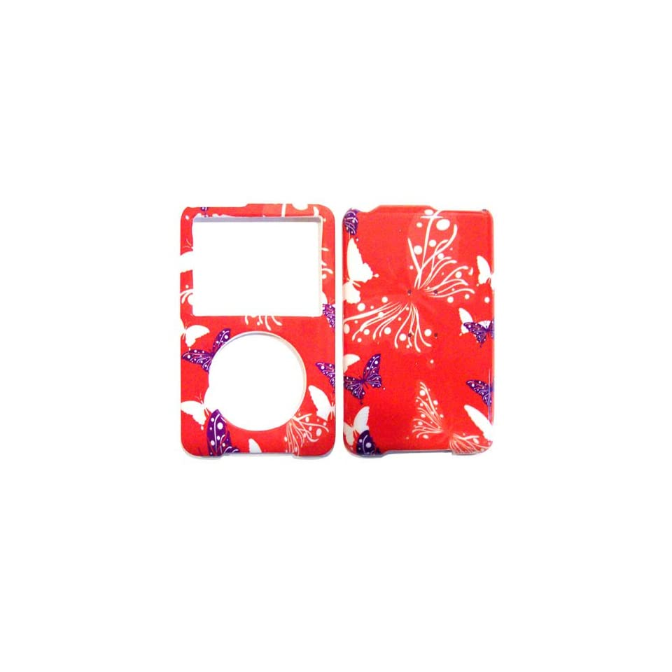 Hard Plastic Snap on Cover Fits Apple iPod Classic Butterfly Dot/Hot Pink