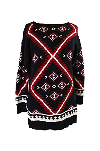 Lauren Ralph Lauren Womens Petites Pattern Boatneck Pullover Sweater Black PM