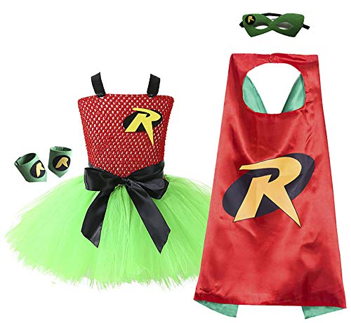 O'COCOLOUR Superhero Robin Costume Tutu for Little Girls Birthday Party Role Play Size 5-6t(Red&Green, Large)]()