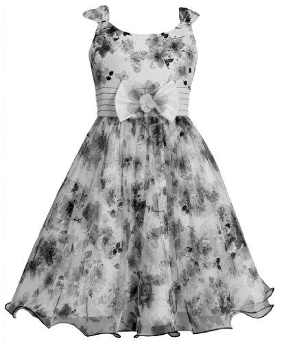 (Bonnie Jean Girls 7-16 Grey Ivory Floral Print Mesh Over Floral Print Shantung Dress, Grey, 7)