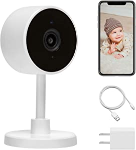 LARKKEY 1080p WiFi Home Smart Camera, Indoor 2.4G IP Security Surveillance with Night Vision, Monitor with iOS, Android App, Compatible with Alexa (White Plus)