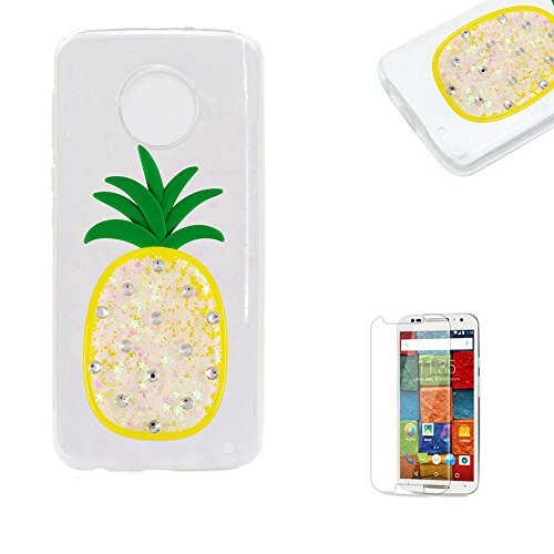 Price comparison product image Funyye Liquid Quicksand Glitter Case for Moto G6 Plus, Luxury 3D Diamond Pineapple White Bling Sparkle Flowing Stars Soft TPU Transparent Rubber Silicone Protective Case for Moto G6 Plus