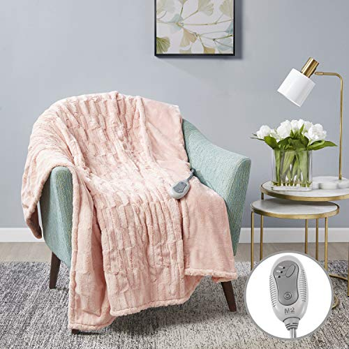MP2 Heated Electric Throw Blanket Faux Fur to Microlight with 3 Heat Settings and 2 - Hour Auto Shut Off 50 x 60 Blush