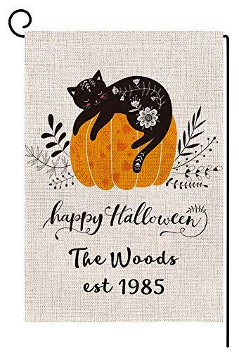BLKWHT Personalized Last Name Fall Garden Flag - Custom Halloween Black Cat Pumpkin Garden Flag Vertical Double Sided Farmhouse Autumn Yard Outdoor Decorative 12.5 x 18 Inch