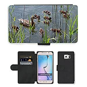 PU LEATHER case coque housse smartphone Flip bag Cover protection // M00134285 Patos Chicks Familia joven Animales // Samsung Galaxy S6 (Not Fits S6 EDGE)