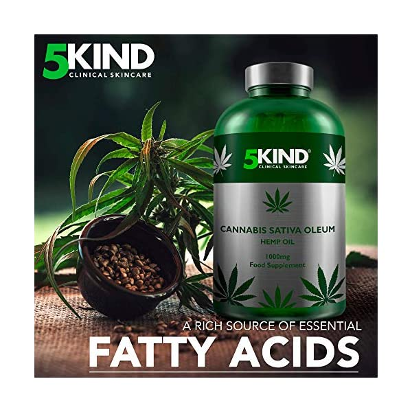 Hemp Oil 1000mg Supplement by 5Kind 180 Soft Gel Capsules of Pure Cold Pressed Hemp Seed Oil – Rich in Omega's 3-6-9