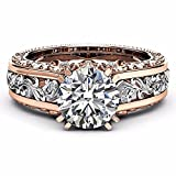 Best Rings White Golds - ZHUOTOP Women Bohemian Rose Gold Crystal Princess Rings Review