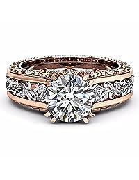 ZHUOTOP Women Bohemian Rose Gold Crystal Princess Rings Elegant Noble
