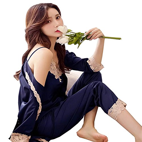 DKKK Women Pajamas Sets Long Sleeve Kimono PJS Nightwear With Satin Belt Navy X-Large - Long Sleeve Bamboo Kimono