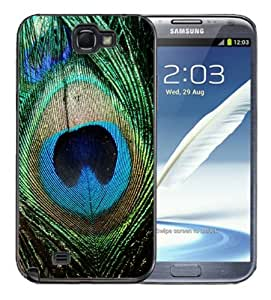 Samsung Galaxy Note 2 Black Rubber Silicone Case - Peacock Feathers Bird Green Beautiful