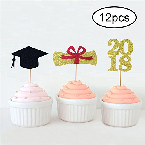 Graduation Cupcake Toppers 2019 | Grad Cupcake Picks | Graduation Food Appetizer Picks | Graduation Party Supplies 2019 | Black and Gold, Pack of 12 ()