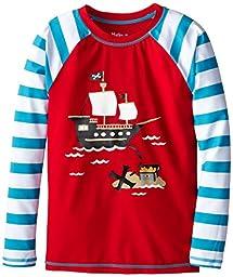 Hatley Little Boys\' Treasure Island Rash Guard, Red, 2