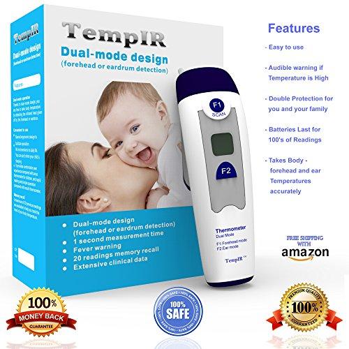TempIR термометра Лучшие наличии для уха и от лба для ребенка, ребенок, младенец, взрослый - цифровой температуры тела термометр - Dual Mode ИК от лба или путем введения в ухо - для младенцев Взрослые Дети, высокая точность Многофункциональные Клинические