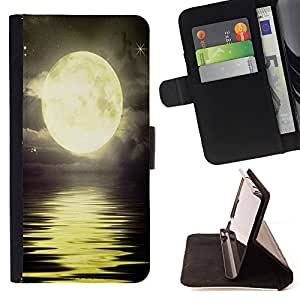 King Art - Premium-PU-Leder-Prima caja de la PU billetera de cuero con ranuras para tarjetas, efectivo Compartimiento desmontable y correa para la mu?eca FOR Sony Xperia Z1 M51W Z1 mini D5503- Moon Night