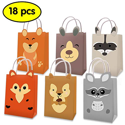 Palksky Wild Animal Party Favor Bags/Woodland Creatures Handbags Gift Candy Kraft Paper Bags for Kids Forest Friends Themed Brithday Baby Shower Party Decorations Supplies(Pack of 18)