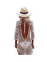 Open Back White Lace Crochet Bikini Cover Up Beach Dress