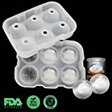 Sphere Ice Mold, Vogek Whiskey Ice Ball Maker, 6 X 4.7cm Clear Round Ice Ball Mold, Reusable and BPA Free
