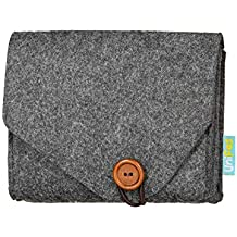 Unifas Cable Tech Pouch Accessory Organizer (Dark Grey) Compact, Portable Felt Bag for Charging Cables, Power Cords, Adapters, Electronics Mobile Device Accessories | Small