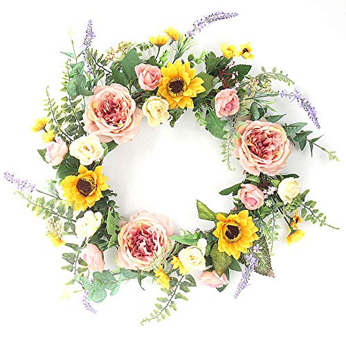Light Yellow Forsythia Wreath - 2Krmstr Artificial Sunflower Peony Wreath,Handmade Mixed Flowers Wreath with Peony and Sunflower,Silk Spring Door Wreath for Front Door, Wedding, Wall, Home Decor(20 Inch)