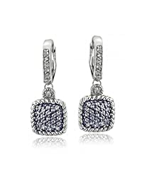 Silver Tone 1.6ct Blue & White Topaz Square Rope Leverback Earrings