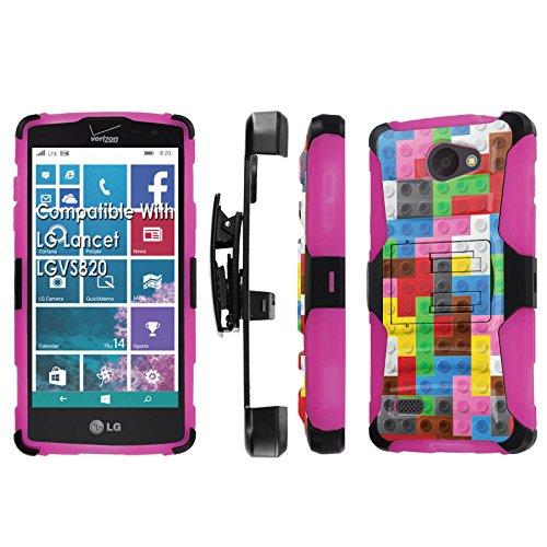 LG [Lancet] [Verizon] Armor Case [SlickCandy] [Black/ Hot Pink] Heavy Duty Defender [Holster] [Kick Stand] Phone Case - [Color Brick] for LG Lancet [vw820]