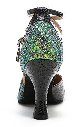 Tda Dames Gesloten Teen Glitter Synthetische Mode Uitlopende Hak Tango Ballroom Latin Dance Trouwschoenen 7.5cm Groen