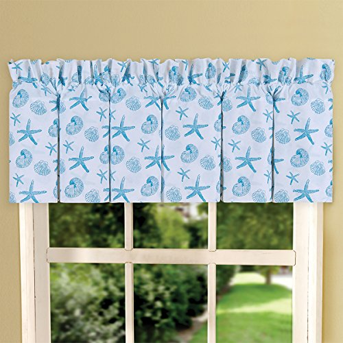 (Coastal Coral Blue Teal and White Print Cotton 80 x 15 Inch Valance)