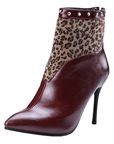 SHOWHOW Womens Sexy Rhinestones Splicing Leopard Pointed Toe Waterproof Booties Wine Red 1LwYn4XbL