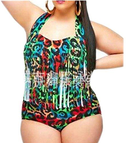 XL-übergewichtige Menschen kleiden einteilige Bikini-Badeanzug ,XXL, Grün und rot