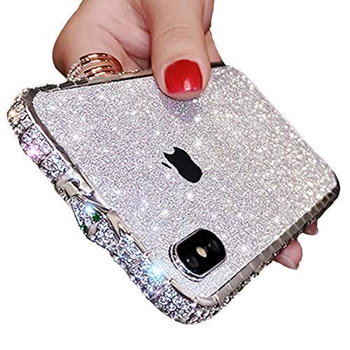 iPhone XR Sparkly Skin Decal, Bling Glitter Precise Skin Sticker with iPhone XR Metal Frame Rhinestones Bumper Case Full Body Coverage Wrap Cover for Girls Women (Silver, iPhone XR)