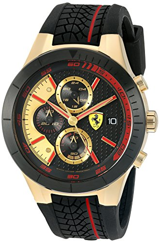 Ferrari 830298 'RED REV EVO CHRONO' Quartz Gold-Tone and Silicone Watch